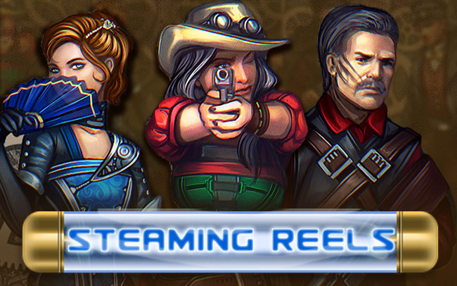 Steaming Reels Game Logo
