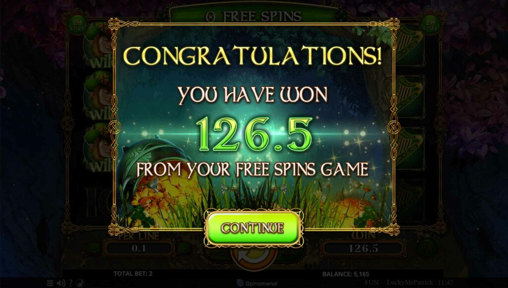 Free Spins win summary
